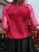 Red See-through Look Plain Stand Collar Casual Blouse