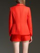 Red Plain Lapel Two Piece  Separate