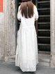 White Half Sleeve Crew Neck Cotton Shift Dress