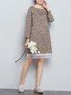 Bateau/boat Neck Paneled Long Sleeve Linen Dress