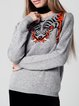 Gray Knitted Crew Neck Long Sleeve Sweater With Tiger Design