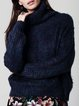 Navy Blue Turtleneck Long Sleeve Sweater With A Metallic Thread