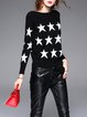 Black Star Pattern Knitted Color-block Long Sleeved Sweater