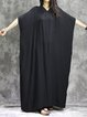Solid Cotton Batwing Casual V Neck Linen Dress