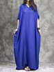 Casual Solid Cotton V Neck Batwing Linen Dress