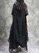 Long Sleeve V Neck Casual Linen Dress