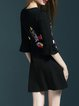 Black A-line Frill Sleeve Embroidered Mini Dress