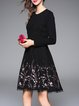 Elegant Embroidered Polyester Long Sleeve Midi Dress