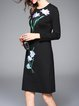 Cotton Long Sleeve Floral Elegant Crew Neck Midi Dress