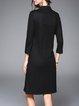 Black Elegant Wool Blend Embroidered Midi Dress