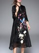 Black Stand Collar Floral Elegant Embroidered Midi Dress
