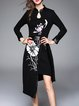 Black Floral Sheath Elegant Cotton Midi Dress