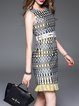Polyester A-line Vintage Crew Neck Sleeveless Mini Dress