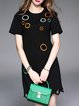 Black Polyester Casual Crew Neck Embroidered Mini Dress