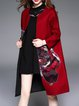 Burgundy H-line Long Sleeve Appliqued Coat