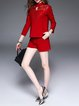 Red Lace Paneled Plain Stand Collar 3/4 Sleeve Romper