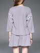 Lace Up 3/4 Sleeve Polyester Crew Neck Casual Appliqued Mini Dress