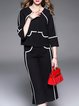 Black Two Piece 3/4 Sleeve Simple Separates