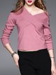 Pink Long Sleeve V Neck H-line Long Sleeved Top