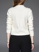 White V Neck Simple Plain Long Sleeved Top