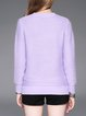 Purple Knitted Crew Neck Long Sleeve Sweater