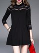 Black Cotton Simple Pockets Lace Paneled Mini Dress