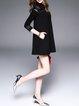 Black Cotton Simple Pockets Lace Paneled Mini Dress