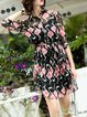 Black Floral Shirt Collar Casual Two Piece Mini Dress with Belt