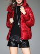 Zipper Pockets Red Long Sleeve Hoodie  Down Coat