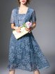 Light Blue Vintage Floral Embroidered A-line Midi Dress