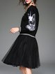 Black Two Piece Casual Animal Print Midi Dress