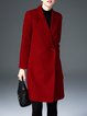Wool Blend Solid Long Sleeve Elegant Lapel Coat