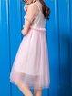 A-line Solid Shorts Sleeve Crew Neck Midi Dress