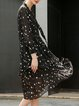 Black Elegant A-line Geometric Polyester Midi Dress