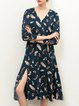Elegant 3/4 Sleeve Wrap Leaf Print Midi Dress