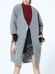 Gray Casual Pockets Plain Wool Coat
