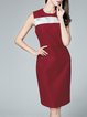 Red Sleeveless Elegant Crew Neck Color-block Midi Dress