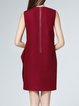 Red Paneled Elegant Crew Neck Mini Dress