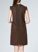 Coffee Wool Sleeveless Paneled Midi Dress