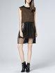 Coffee Wool Sleeveless Paneled Midi Dress