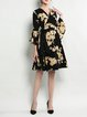 Black Elegant A-line Floral-print Midi Dress