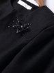 Black Solid Elegant Appliqued Coat
