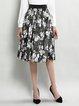 Pleated A-line Floral-print Elegant Midi Skirt