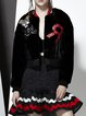 Black Paneled Sequins Embroidery Letter Cropped Jacket