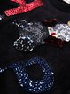 Black Casual Paneled Crew Neck Letter Sequins Embroidery Sweatshirt