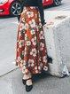 Red A-line Printed Elegant Maxi Skirt