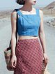 Blue Solid Denim Sleeveless Buttoned Cami
