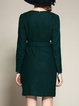 Dark Green Wool Blend Solid Mini Dress With Pockets