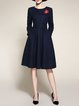 Navy Blue Crew Neck A-line Polyester Elegant Midi Dress
