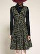 Green Printed Casual V Neck Midi Dress